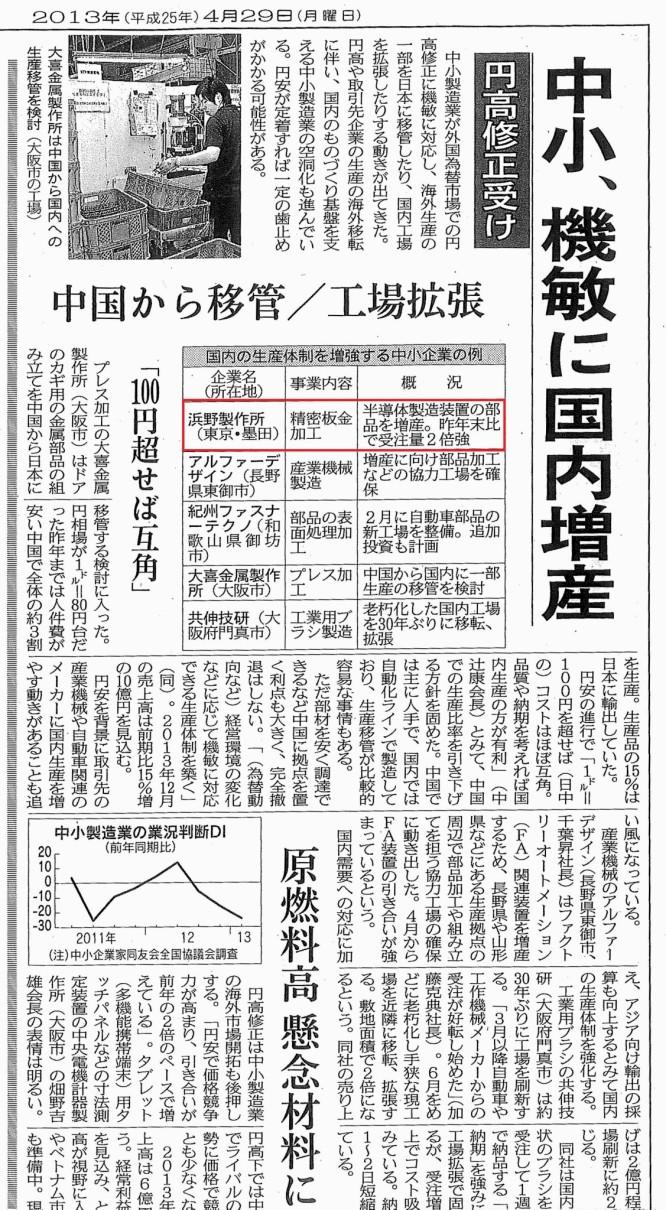 130429日本経済新聞_中小機敏に反応