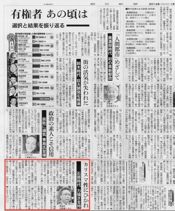 140110朝日新聞朝刊有権者あの頃は